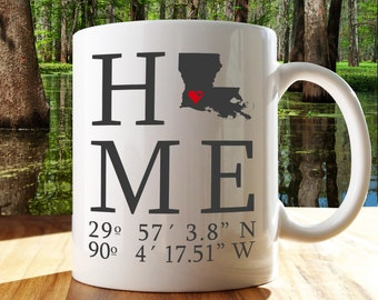 Personalized Louisiana Home State And Coordinates Mug 11 Oz New Home Gift Newlyweds Gift Home Decor