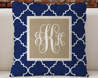 """Personalized Monogram Custom Throw Pillow, Navy Ogee Pattern with monogram, Decorative Pillow 18""""x18"""""""