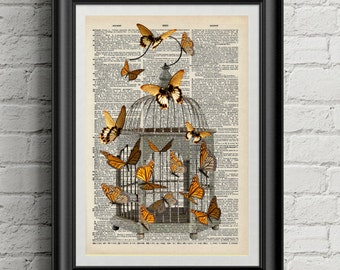 Vintage butterfly dictionary art print
