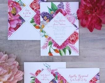 Floral Diamond Wedding Invitation Sample