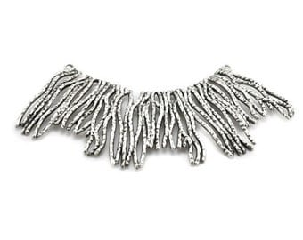 Midsole - metal connector tree branch silver  breastplate necklace lines 116x22mm