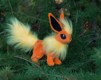 Plush Flareon Pokemon Custom Plush Toy Eeveelution Stuffed Animal