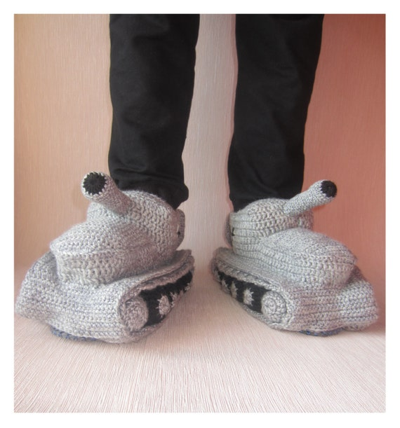 Knitting Pattern For Army Tank Slippers : Hand Knit SlippersCrochet Tank SlippersAdult Crochet