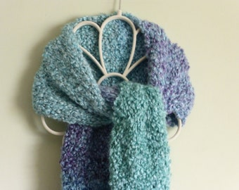Handmade striaght knit chunky scarf with blended stripes of teal, green, blue, and violet. Free domestic USPS priority shipping!!