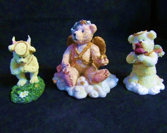 Three Bearstone Collection Boyds Bears & Friends 1) Petals 2) Juliette Angel Bear , 3)  Tweetie Figurines