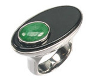 Jade & Onyx silver handmade ring