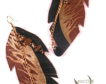 Leather Tree Beaded Earrings
