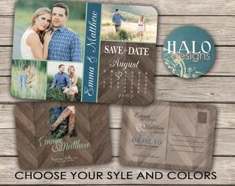 Rustic Chevron Wedding Save the Date Calendar Postcard - printable card with calendar