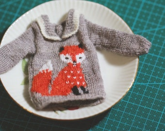 Blythe sweater The fox/Neo Blythe/handmade/knitting/vest/outfit/clothe/licca