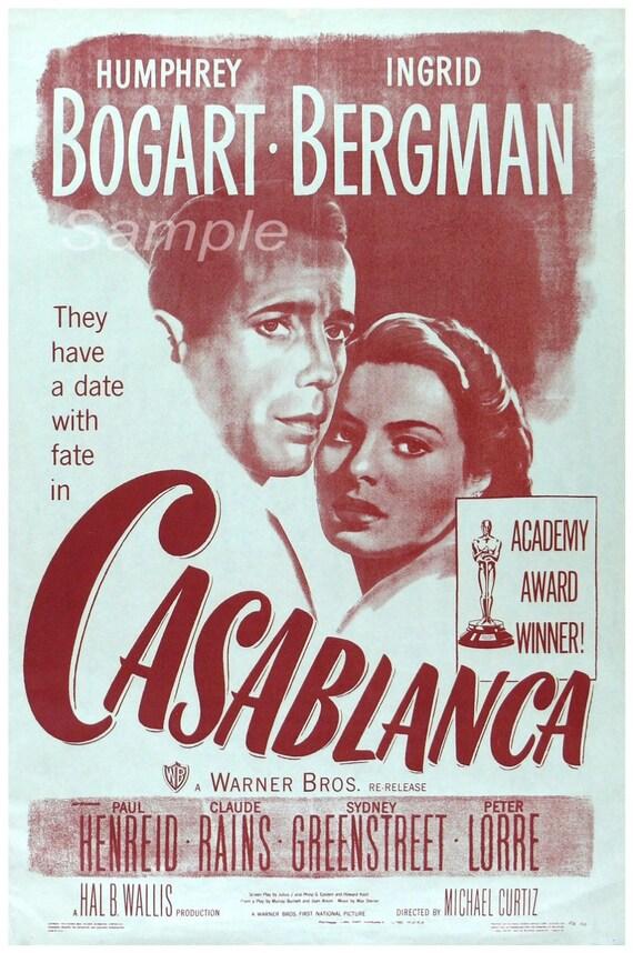Cb02 vintage casablanca movie poster print for Poster casablanca