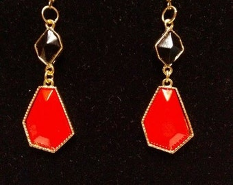 Red and black Dangling Earrings