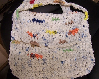 Handmade CARRY ALL HANDBAG - Crocheted from everyday plastic shopping bags.
