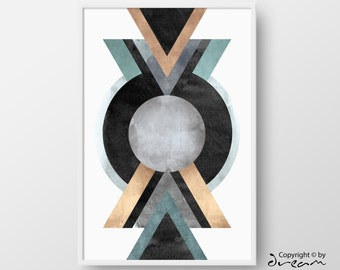 Printable Geometric Art, Modern Geometric Print, Abstract Watercolor Poster, Home Decor Poster, Large Watercolor Geometric Print