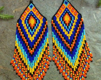 "Ethnic earrings ""Peru"" beads. Native American Beadwork."