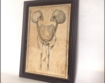 Conjoined Reproduction Victorian Print in Frame