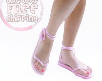 Comfortable Sandals Gradiator for Summer. Lace up flip flops.. Free Shipping!!