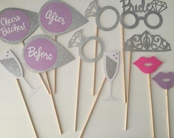 11-pack Bachelorette Party Photo Booth Props (Lavender and Silver)