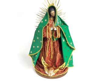 "Virgin Mary Statue of Our lady of Guadalupe 14"" figure Catholic Christian Saints Plaster Religious"