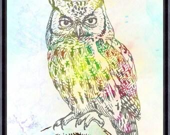 Owl Art Print, Owl Decor, Owl Watercolor Art, Owl, Owl Wall Decor (03)