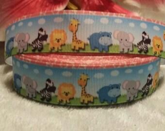 "3 yards, 7/8"" baby zoo animals design grosgrain ribbon"