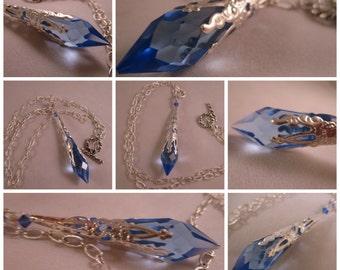 Swarovski Blue Prism Necklace Crystal Necklace Victorian Necklace Classy Swarovski Blue Icicle