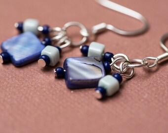 Purple Mother of Pearl Earrings