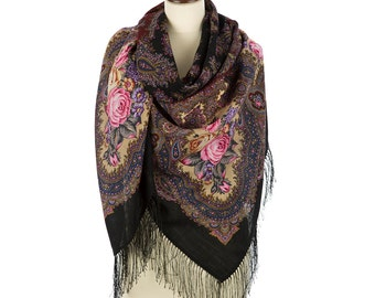 ELITE Russian shawl Pavlovo Posad 100% original russian Folk Style scarf