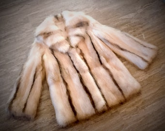 Fur jacket/ Real Canadian raccoon fur/ Gold White color