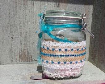 Turquoise Glam Glass Memory Jar