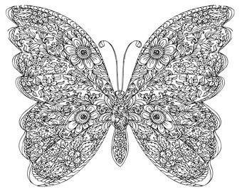 Butterfly floral zentagle - printable coloring page