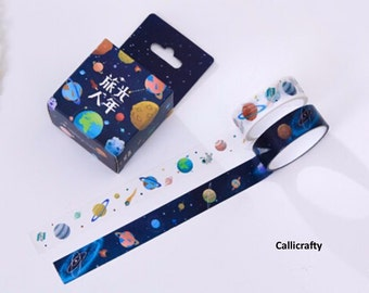 Planets and Stars Japanese Washi Tape, Universe Masking Tape, Decorative Tape, Planner Stickers ...