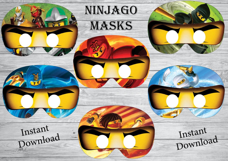 instant download ninjago masks ninjago birthday ninjago party ninjago invitation printable