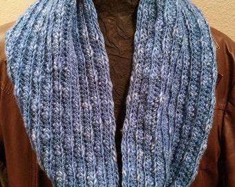 Blue merino wool infinity scarf