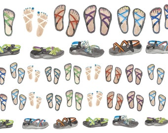 Adorable Sandals Planner Stickers with Chaco Design - Printable PDF