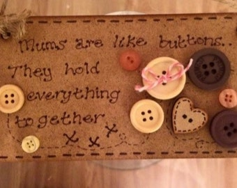 Mum Button Plaque If mums were like buttons Personalised mum gift Personalized mum gift Gift for mum Gift for nannan Gift for grandma plaque