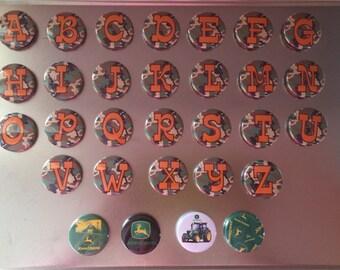 Button Magnets - Alphabet Set with John Deer