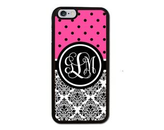 Custom Pink Damask Monogrammed Designer Iphone 6/6S/6 Plus, 5/5S, 5C, 4/4S Personalized Monogram Case