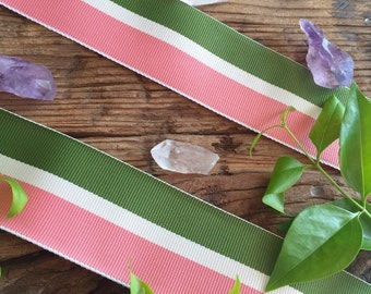Pink, Green and White Antique Ribbon