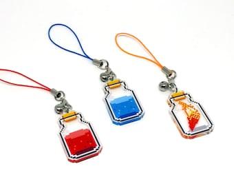 RPG Item Clear Acrylic Charm | phone charm, video game charm, gamer charm, pixel charm, health potion, mana potion, phoenix down