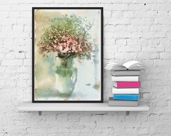Beautiful bouquet of wild flowers. Digital Download Poster. The watercolor effect.