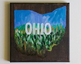 Ohio Art, Ohio Painting, Rural Art, Corn Field Painting, Ohio Corn, Ohioan, Home Decor, Cottage Art, Acrylic Painting, 8x8 Canvas