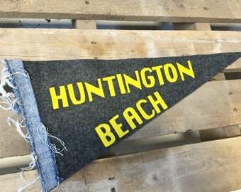 Handmade Felt Pennant with Frayed Denim Strip- Huntington Beach