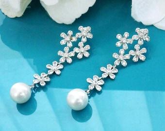 Long pearl earrings, Long bridal earrings, Pearl wedding jewelry, Pearl wedding earrings, CZ pearl earrings, Zircon bridal jewelry  11391