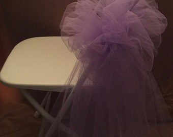 BOWS FOR CHAIRS Tulle Fabric  Lavender Sold In Sets Of 6 Great For Outdoor Fences and Tents