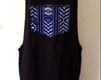 Upcycled Black Pinafore Boho Style size UK 10