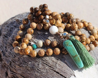 Jasper and Turquoise Knotted Necklace withCarved Shell, Crystal and Silk Tassel