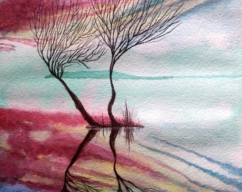 Cool Place - Original Watercolor Painting. Size - 8.5 inch x 11 inch