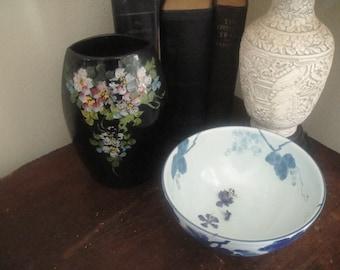 Hand painted black vase