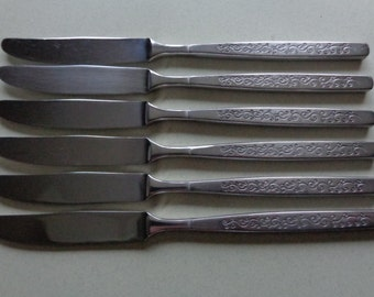 Dormel Stanley Roberts Vintage Stainless Flatware 6 Dinner Knives Scroll pattern SR