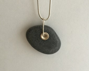 ST - Beach stone necklace, riveted with sterling silver, on a sterling silver chain